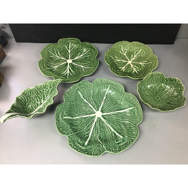 Green 5 Vintage Pieces of Bordallo Pinheiro Cabbage Design For Sale - Image 8 of 9