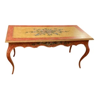 Louis XV Hand Painted Style Desk With Floral Design For Sale