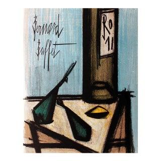 1966 Bernard Buffet 'Still Life With Bottle' Modernism France Lithograph For Sale