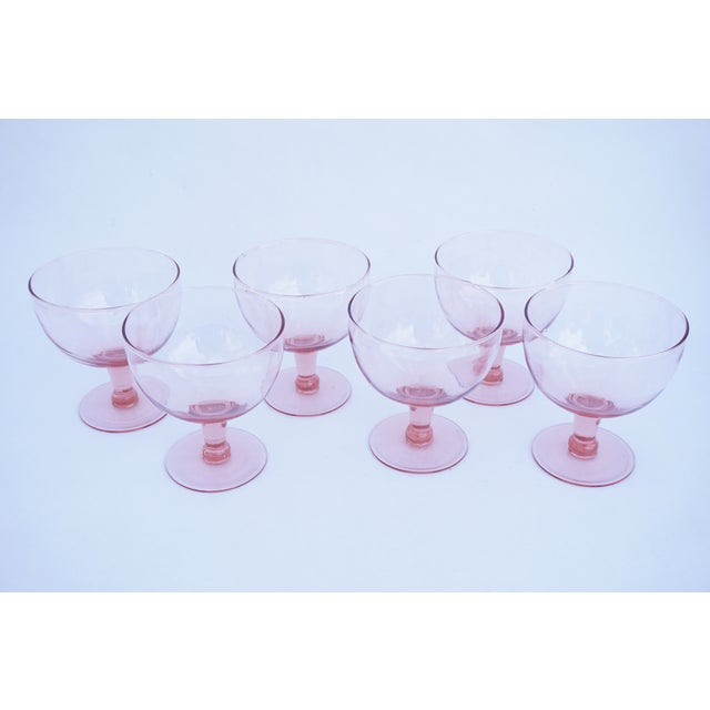 Glass Set of 6 Vintage Pink Stemmed Glasses | Wine Goblets | Champagne Coupes | Sorbet/Berry Cups | Candy Dish ||+1 Bonus Glass Included For Sale - Image 7 of 11