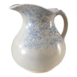 Spongeware Blue and Beige Stoneware Pitcher For Sale