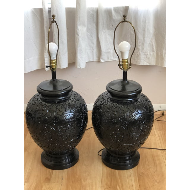 Traditional Stunning Pair of Gloss Black, Round Table Lamps With Carved Relief Design For Sale - Image 3 of 11
