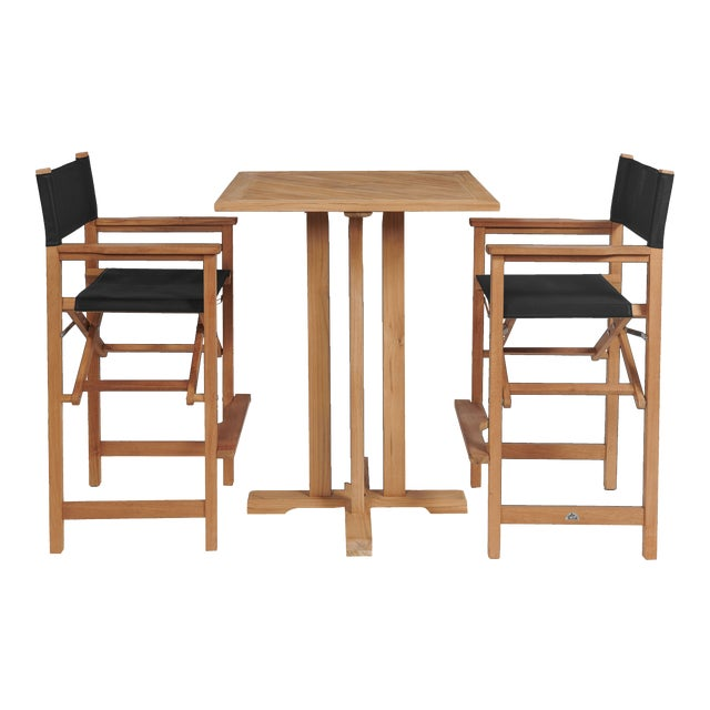 Captain Bar in Black 3-Piece Teak Square Bar Height Outdoor Dining Set For Sale