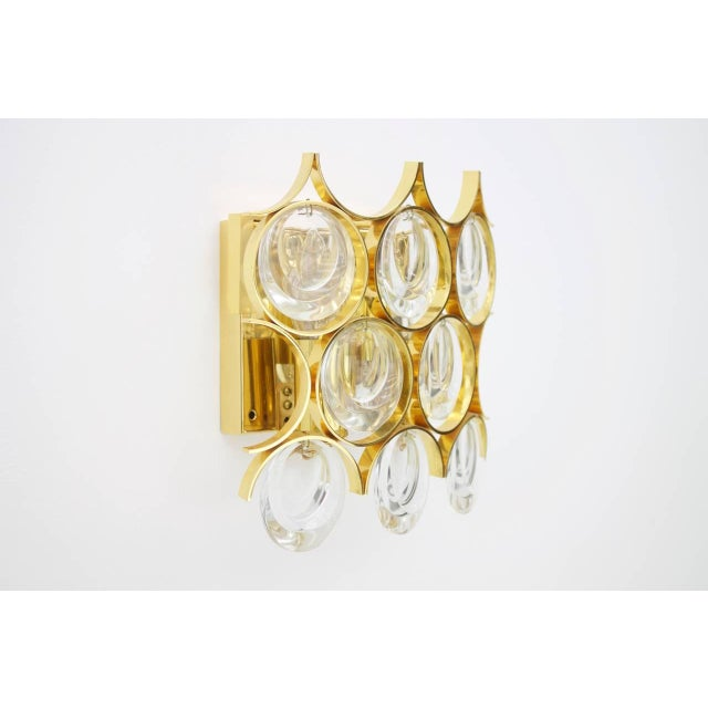 Hollywood Regency Palwa Single Wall Sconce, Gilded Brass and Crystal Glass 1960s For Sale - Image 3 of 8