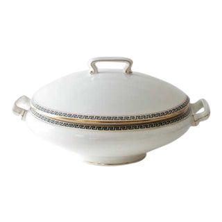Greek Key Limoges Lidded Round Dish