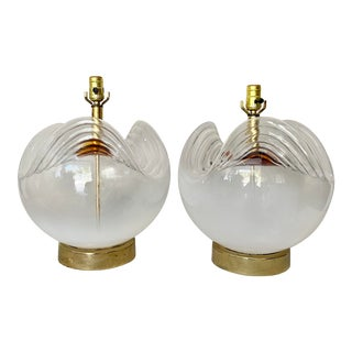 Vintage Abstract Orb Glass Lamps- a Pair For Sale