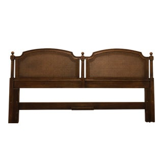 Henredon King French Regency Cane and Wood Headboard For Sale