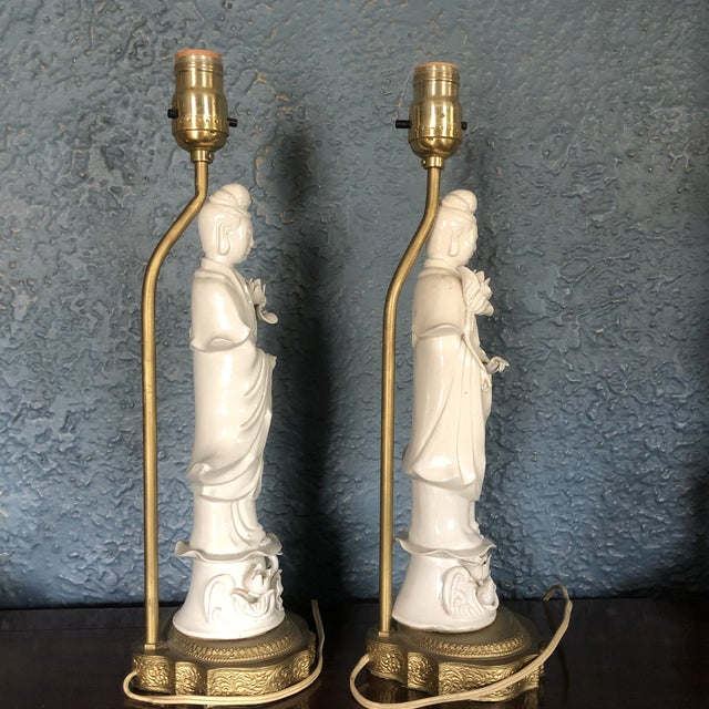 Blanc De Chine Quan Yin Goddess Table Lamps - a Pair For Sale - Image 4 of 12