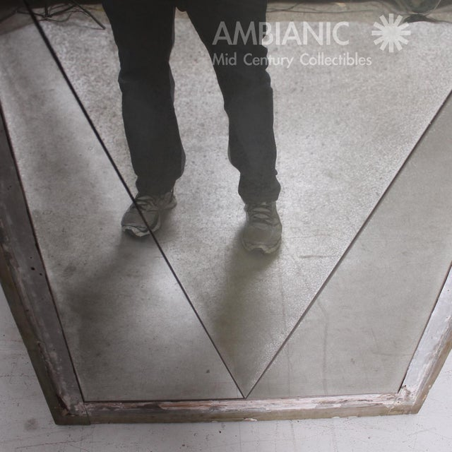 Gray Antique Distressed French Floor Mirror With Diamond Pattern, 1940's For Sale - Image 8 of 9