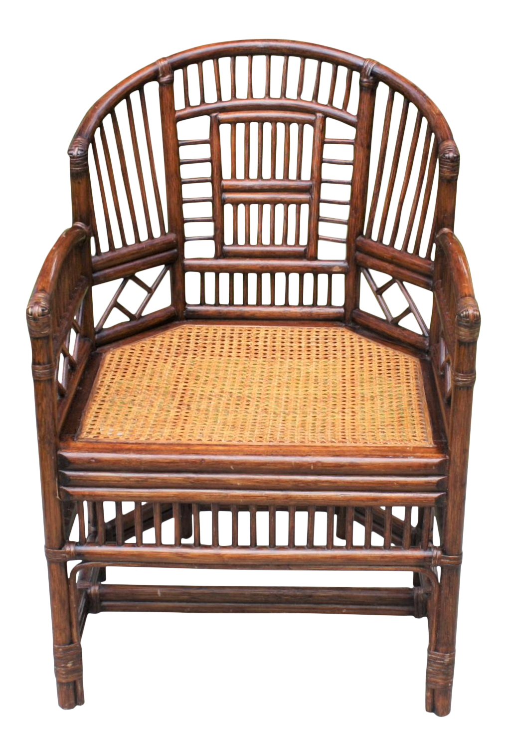 E 20th Century Chinoiserie Brighton Bamboo Rattan Chair