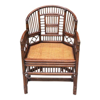 20th Century Chinoiserie Brighton Bamboo Rattan Chair For Sale