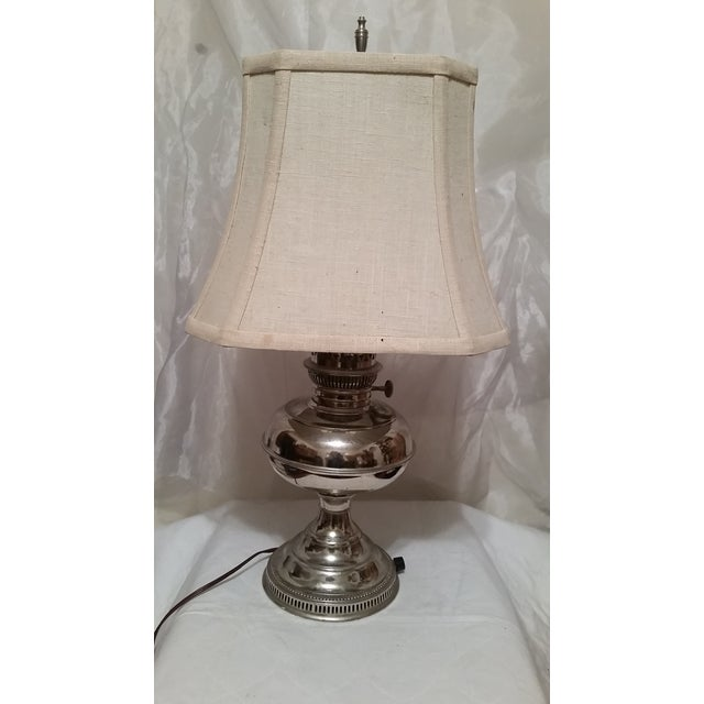 Vintage Repurposed Silver Rayo Table Lamp With Shade - Image 2 of 7