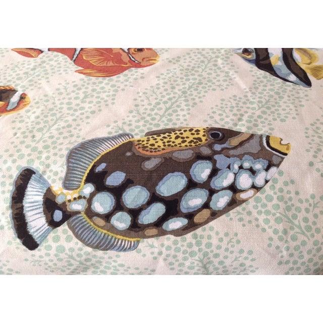 "Blue Grey Watkins ""Barbuda"" Fish Linen Textile - 4 1/3 Yds. For Sale - Image 8 of 12"