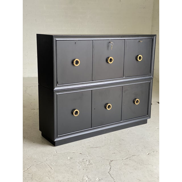 Mid-Century Black and Brass 2-Tiered Secretary For Sale - Image 9 of 9