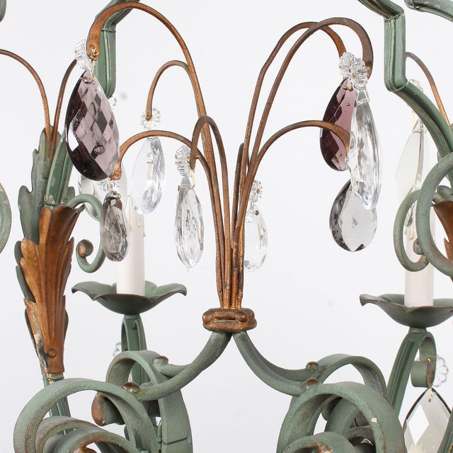 Vintage French 8-Light Painted Iron and Crystal Chandelier For Sale - Image 9 of 12