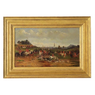 Circa 1878 Antique British Hunt Scene Landscape Painting of Horses and Dogs For Sale