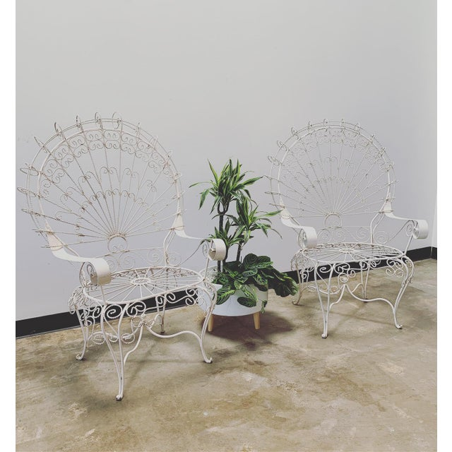 Art Nouveau 1960s Vintage Salterini Iron Peacock Chairs- a Pair For Sale - Image 3 of 7