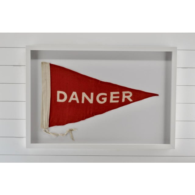 Mid-Century Modern Vintage Danger Flag Large, Wall Art Decor, Rare For Sale - Image 3 of 4