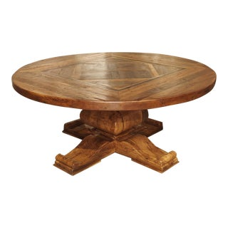Round French Oak Parquet Dining Table With Central Baluster Base For Sale