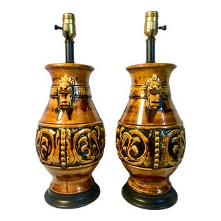 Pair of Mayan Style 1960s Orange Glazed Ceramic Lamps For Sale