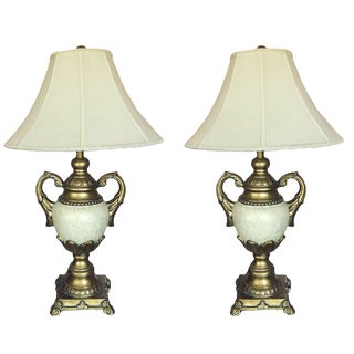 Berman Table Lamps in Off White and Gold With Shade - a Pair For Sale