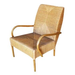 Large Wicker Rush Seat Lounge Chair