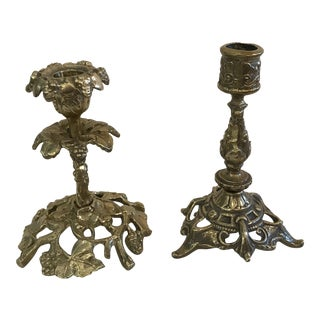Vintage Ornate Brass Candlesticks - A Pair