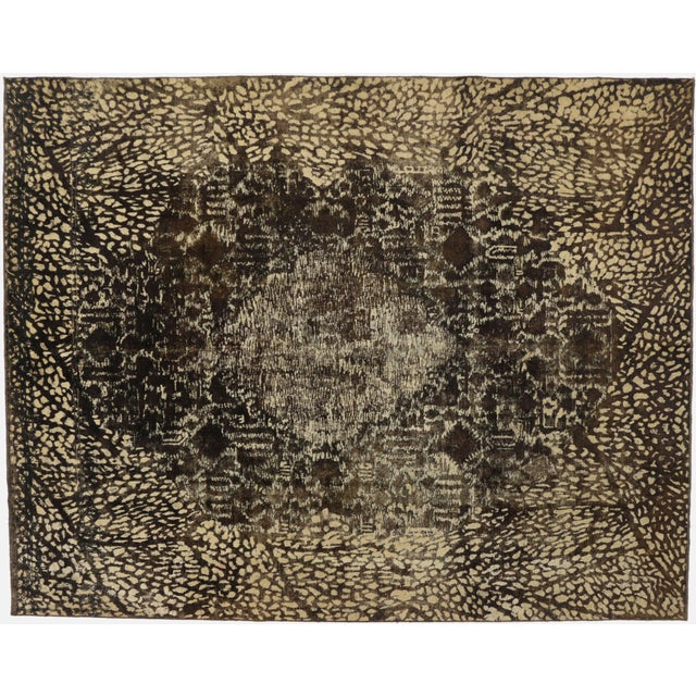 Textile Overdyed Distressed Vintage Turkish Rug With Modern Style and Bone Inlay Design For Sale - Image 7 of 7