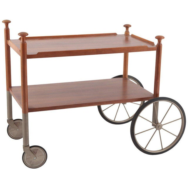 Rubber Unusual Walnut and Nickel Bar Cart by Wilhelm Renz, Late 1960s For Sale - Image 7 of 7