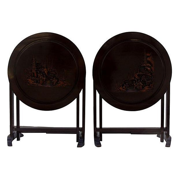 Asian-Style Folding Side Tables - Pair - Image 3 of 5