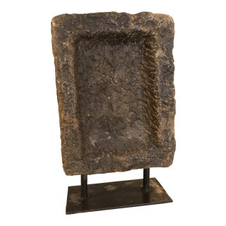 Original Primitive Grinding Stone on Custom Iron Stand For Sale