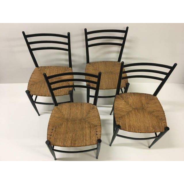 1960s Vintage Chiavari Rush Seat Ladderback Spinetto Dinning Chairs- Set of 4 For Sale - Image 9 of 10