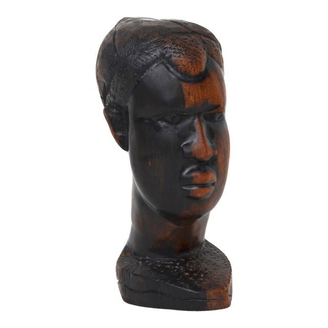 Mid Century African Wood Carved Head For Sale