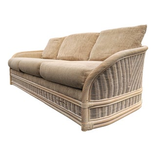Boho Chic Organic Modern Rattan Sofa For Sale