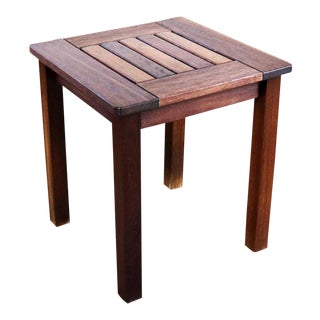 Vintage Windsor Natural Teak Outdoor Side Table For Sale