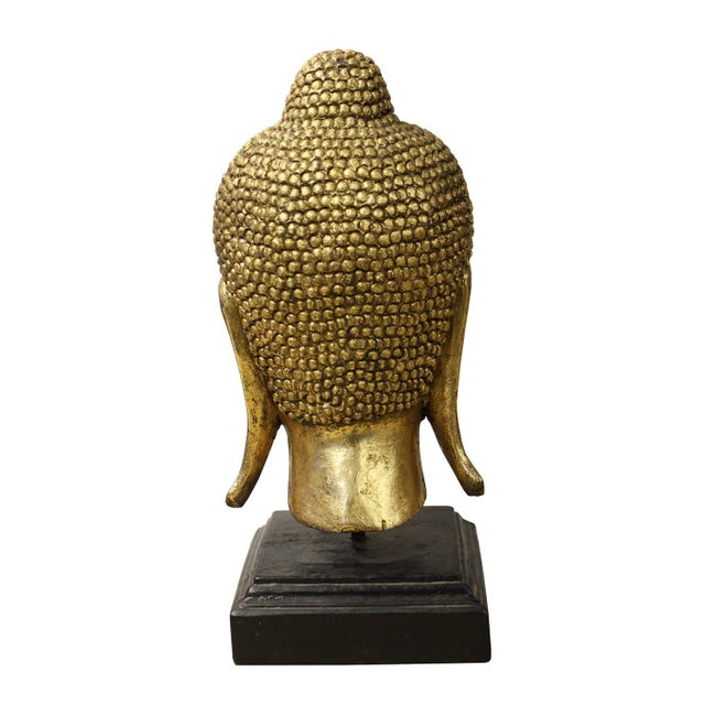 Handcrafted Gold Wood Serene Peaceful Buddha Head On Stand For Sale - Image 5 of 5