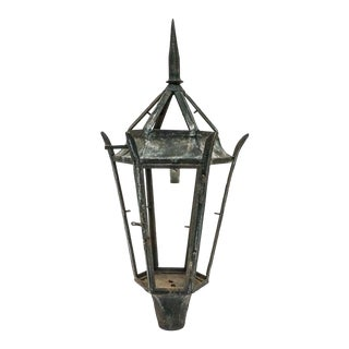 "41"" Tall 19th Century Wrought Iron Architectural Street Lantern For Sale"