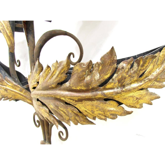 Wrought Iron and Gilt Garden Wall Hanging For Sale - Image 9 of 11