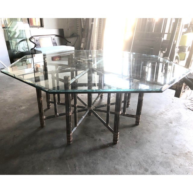 Bamboo Kitchen Table Mcguire bamboo dining table with glass top chairish mcguire bamboo dining table with glass top image 3 of 11 workwithnaturefo