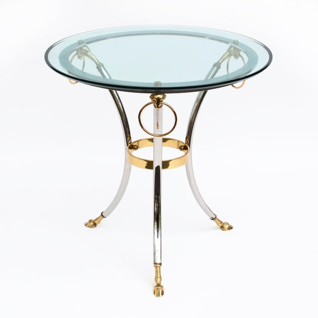 Mid-Century Modern Brass, Chrome and Glass Rams Head Hoof Round Side Table For Sale - Image 3 of 12