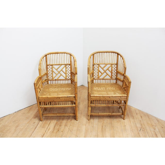Tan A Pair of Bamboo Brighton Pavilion Chairs - Chinese Chippendale For Sale - Image 8 of 10