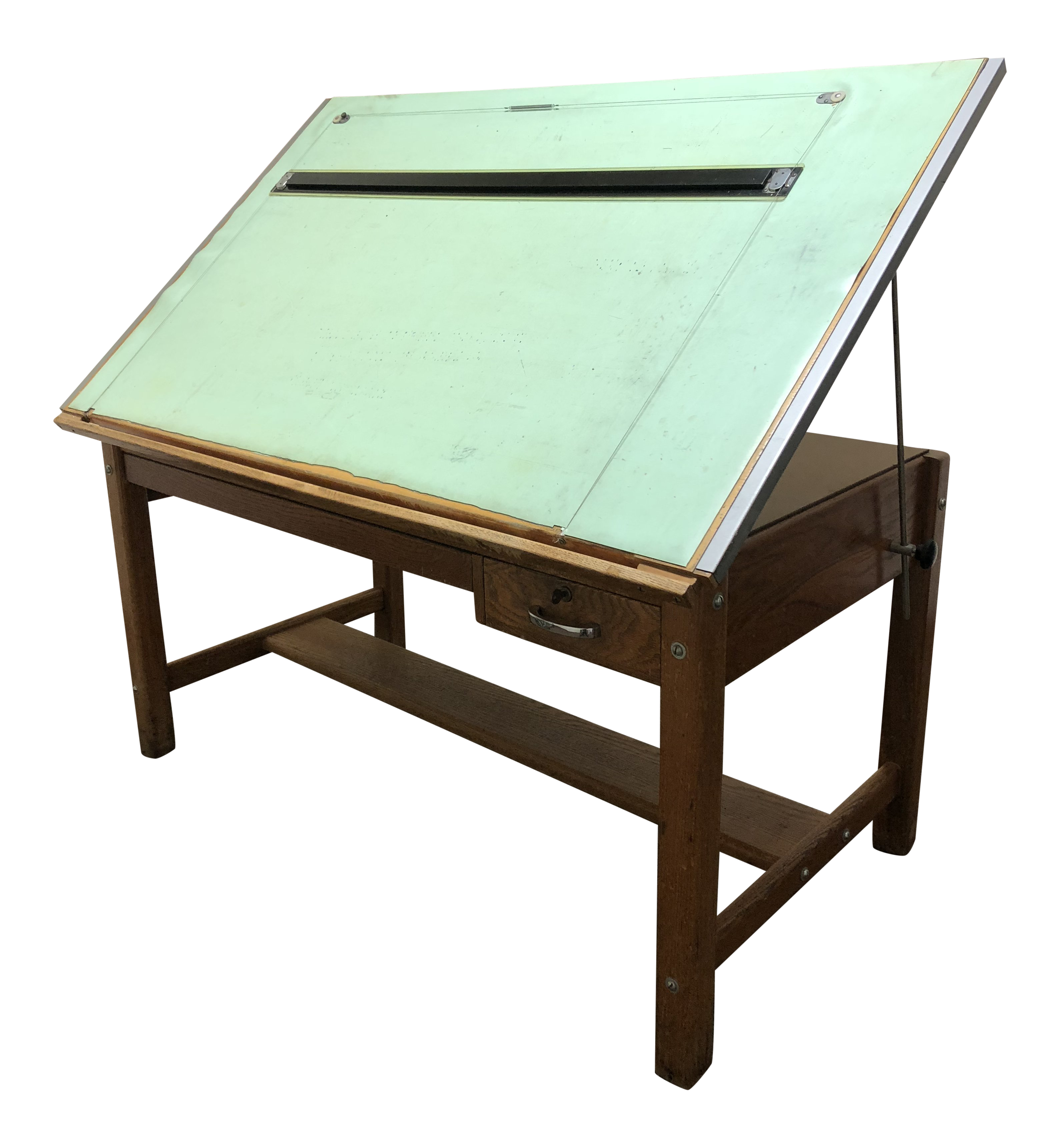 Vintage Industrial Wood Drafting Table With Tilt Top By Mayline For Sale