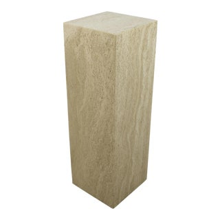 Vintage Italian Travertine Pedestal For Sale