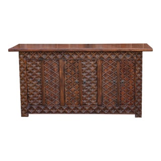 Aku Brown Teak Tetuoan Carved Sideboard For Sale