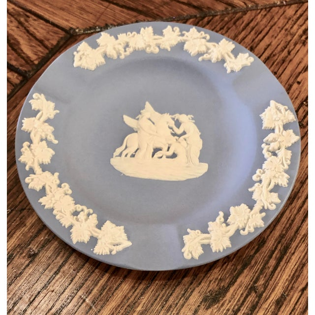 Wedgwood Jasperware Pale Blue Round Ashtray Queensware With Original Box For Sale - Image 6 of 9