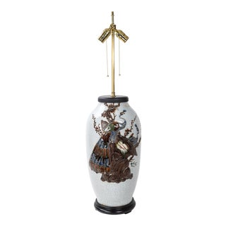 19th Century Vintage Ge Kiln Bottle Table Lamp With Sculpture Pattern For Sale