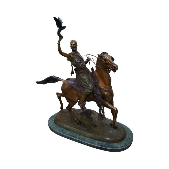 Pj Mene Large Bronze Sculpture Man Riding Horse For Sale - Image 11 of 11