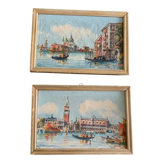 1930s Vintage Framed Italian Scene Paintings - A Pair For Sale