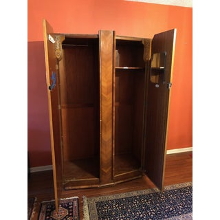1940s Vintage Art Deco Walnut Armoire Preview