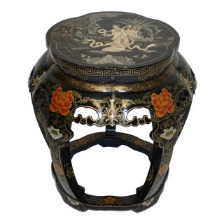 Vintage Mid Century Chinese Lacquer Stool For Sale